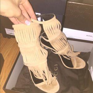 Gucci Becky Fringe Camelia Sandals